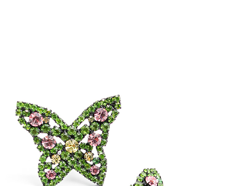 Ashley Williams / Butterfly Earring / Green/Pink Crystal