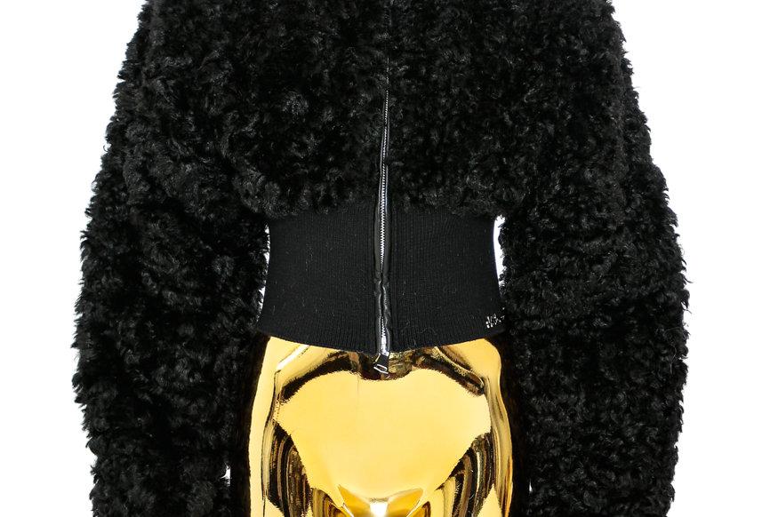 NODRESS / Faux Sheep Fur Short Jacket / Black
