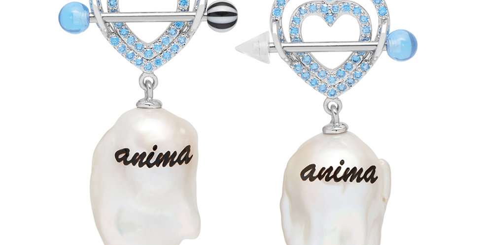 JIWINAIA / ANIMA BAROQUE PEARL EARRINGS / RHODIUM