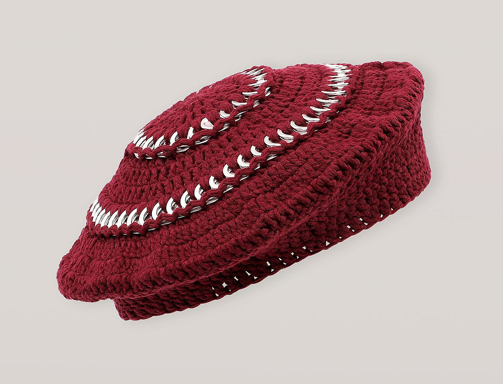 GANNI / Cotton Knit Beret / Port Royale
