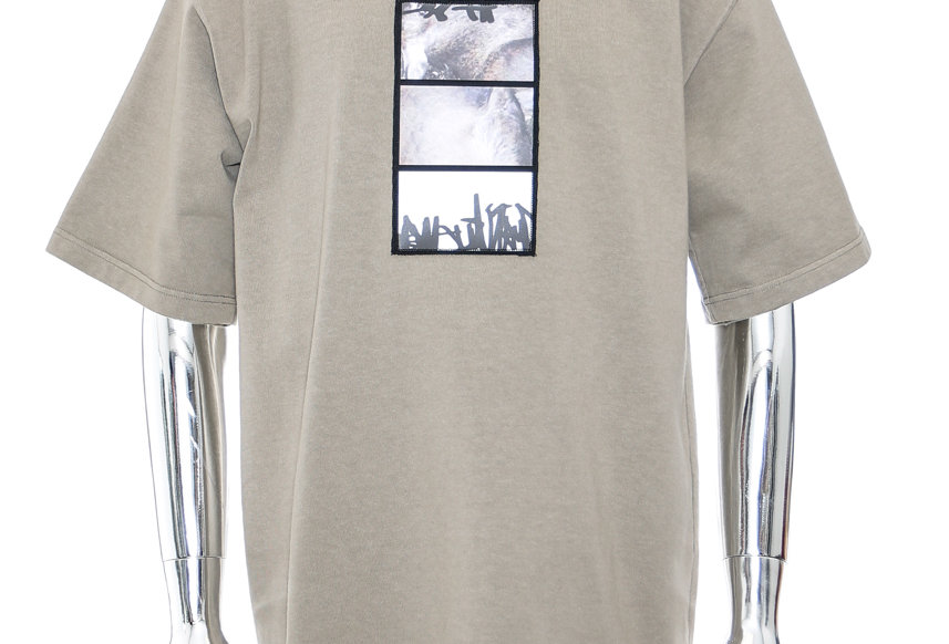 GR10K / SEASONS_UTILITY_SHORT - SLEEVE T-SHIRT WITH PATCH / TAUPE