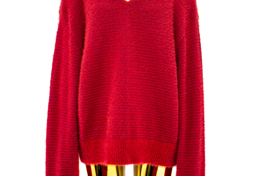 Y/PROJECT / BRA KNIT PULLOVER / RED BORDEAUX RIBBED