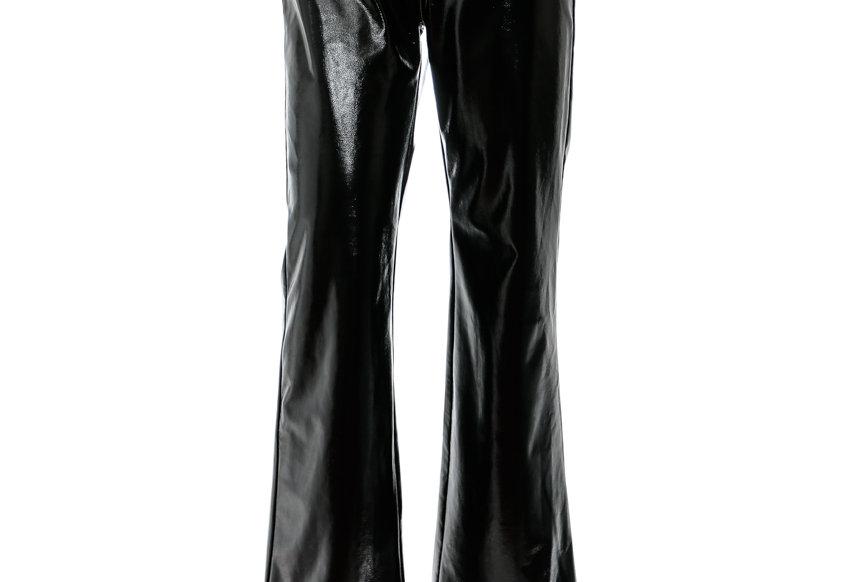 JOHN / Faux Leather Flared Pants / Black