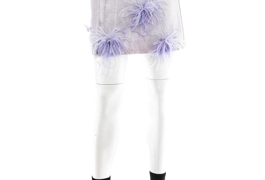 NODRESS / Ostrich Brooch Satin Skirt / Silver Grey