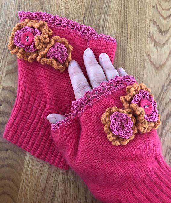 Boho fingerless gloves