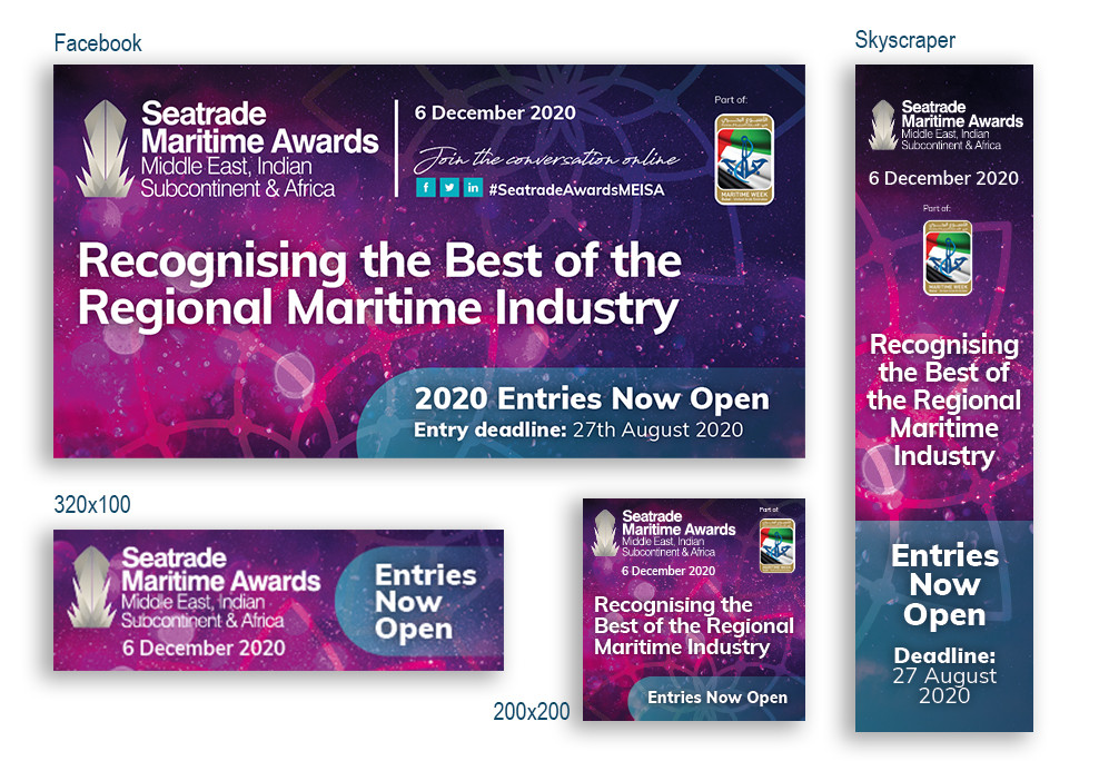 Seatrade Maritime Dubai Awards 2020: Set of digital assets/banners to promote the prestigious, and long-running, event which is part of a family of awards throughout the year.