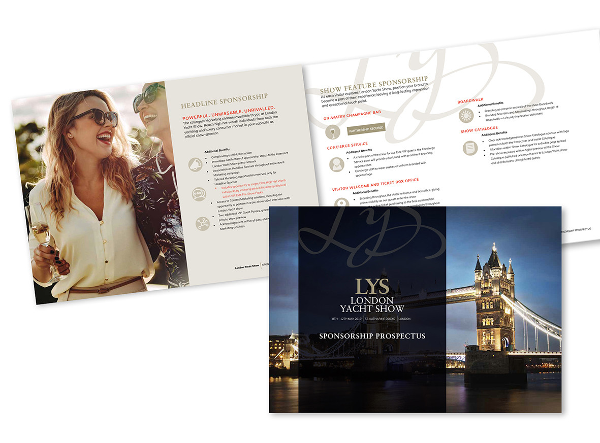 """London Yacht Show 2018: Brochure and branding for a new event application focussing on the luxury yacht clientele in the UK. Created to align with another of Informa's events """"Monaco Yacht Show""""."""