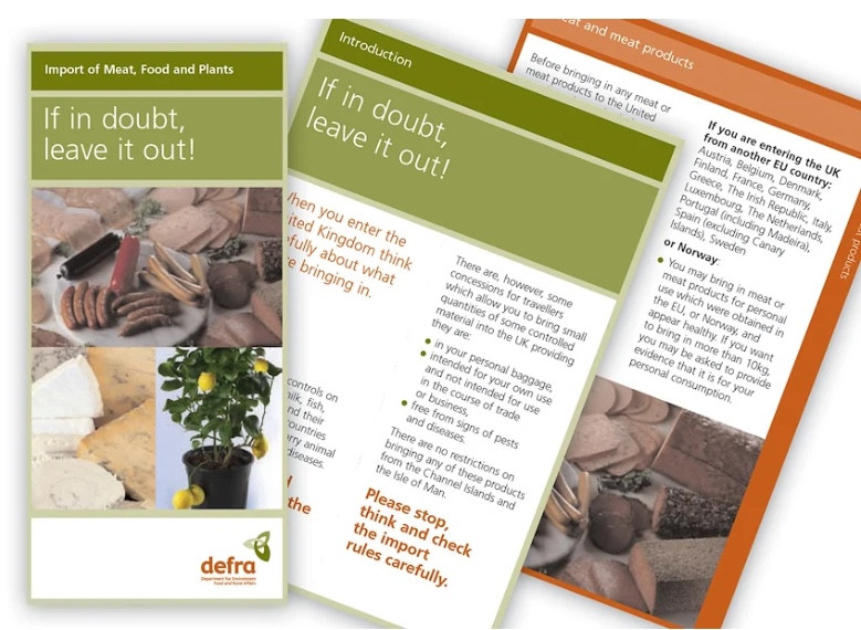 Defra information campaign: Range of collateral advising on perishable imported goods, using their brand guidelines.