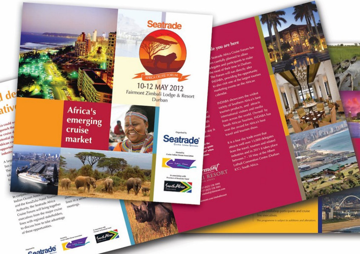 South African Cruise Forum: Fun colourful brochure to advertise our African cruise event.