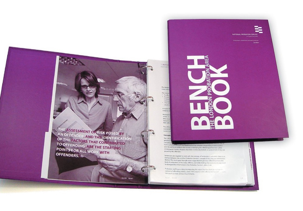 """The National Probation Service """"Bench Book"""": A lengthy and heavy bound volumn outlining all protocols and responsibilities in the field of probation."""