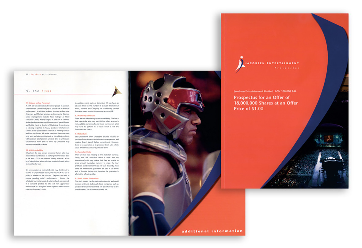 Jacobsen Entertainment Prospectus: Prominent Australian entertainment provider wanted a prospectus that matched their vibrant industry. Freelance project.