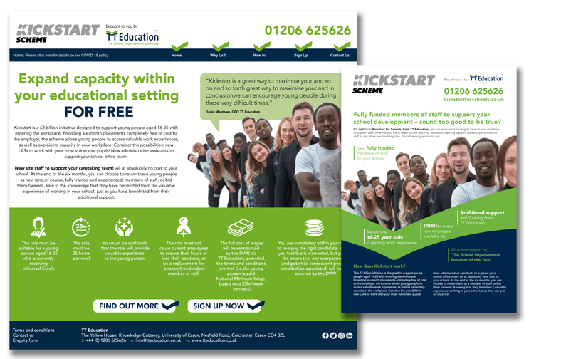 TT Education's KickStart website and flyer, helping young people find positions in schools during the pandemic. www.kickstartforschools.co.uk