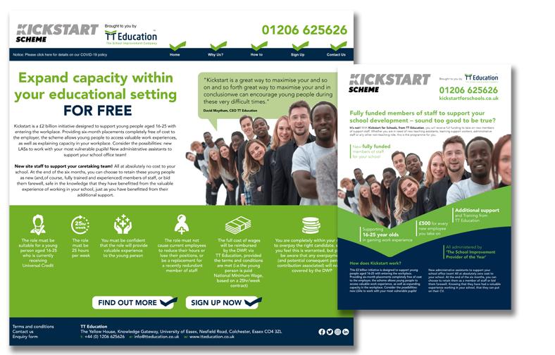 TT Education's KickStart website and flyer, helping young people find positions in schools during the pandemic. www.kickstartforschools.co.uk