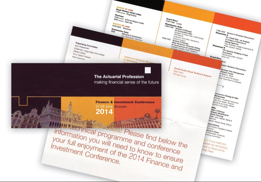 The Actuarial Profession: Financial conference guide and timetable.