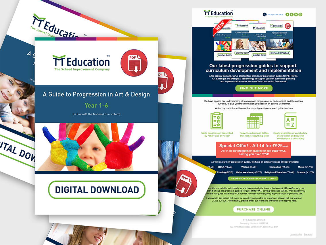Range of electronic school progression guides to help teachers assess their students performance, and email sent to inform our clients of the new guides