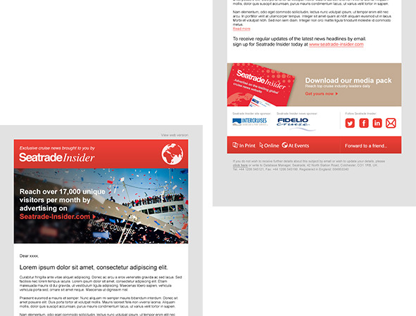 Email template using Joomla CMS interface.