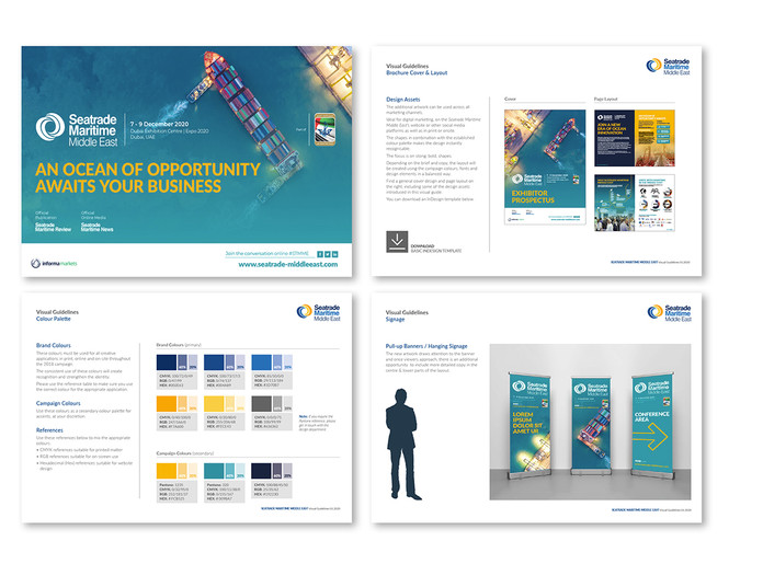 Seatrade Maritime Middle East 2020 Guidelines: Branding and suggested direction for the upcoming 2020 (now 2021) event, developed to stand out at the extermely opluent Expo 2020 launch in Dubai.