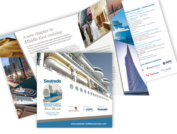 Abu Dhabi Cruise Forum: Brochure advertising our offering for this Middle Eastern cruise event.