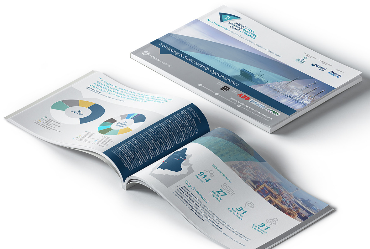 Saudi Maritime Congress brand and collateral: Ongoing creative for hugely successful Saudi Arabian event. Consultation process on new logo and its implementation.