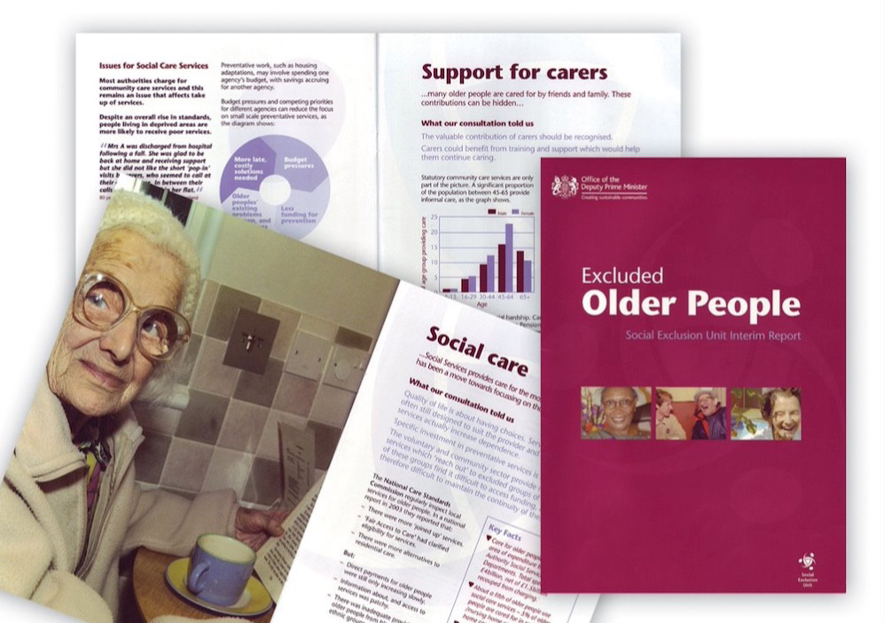 Office of the Deputy Prime Minister brochure to highlight the problems facing isolated people of age and the policies to tackle mental health issues.