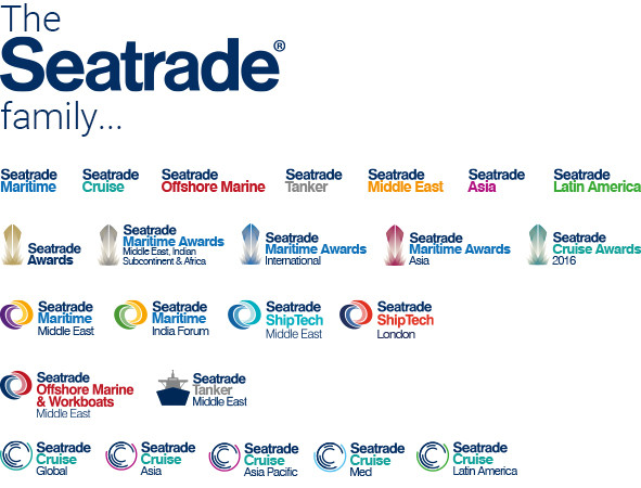 Seatrade logo family: Rebrand and consultation with Seatrade on all their products in 2015, to syncronize and align branding across our sector. I created an easily adaptable 'formula' to allow easy adaptation of future events.