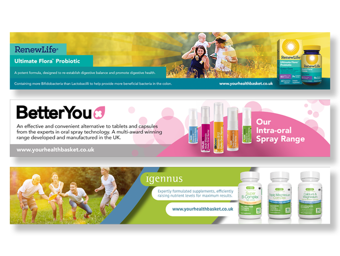 Product visuals for digital banners of a pharmaceutical range