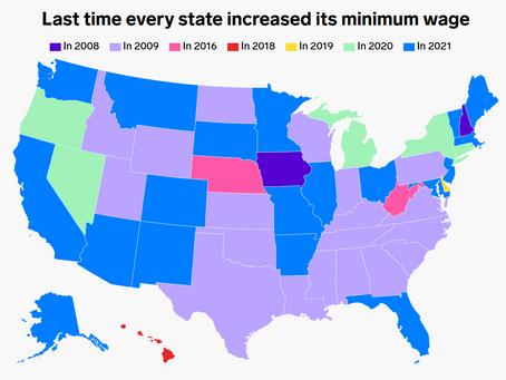 各州で最低賃金が最後に更新がされた年