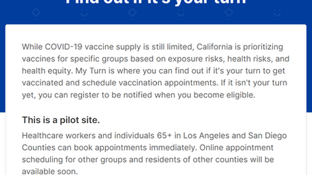 CA州のワクチン接種予約ウェブサイトとワクチン接種施設