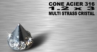 Cone acier multi strass 3 mm