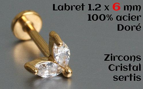 Labret doré 6 mm zircons 2 cristaux sertis