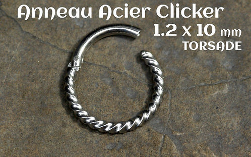 Anneau clicker acier torsade 10 mm