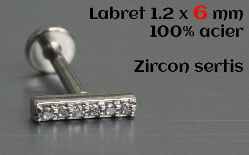 Labret zircons cristal sertis