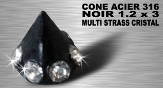 Cône acier noir strass 3 mm