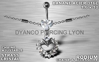 Piercing nombril chaîne tour de taille cœur cristal