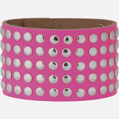 Bracelet cuir rivets rose CR04