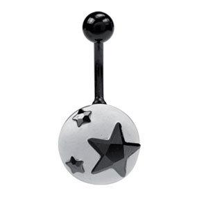 Piercing nombril étoile noir