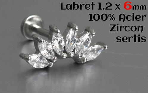 Labret 6 mm acier zircons cristal sertis