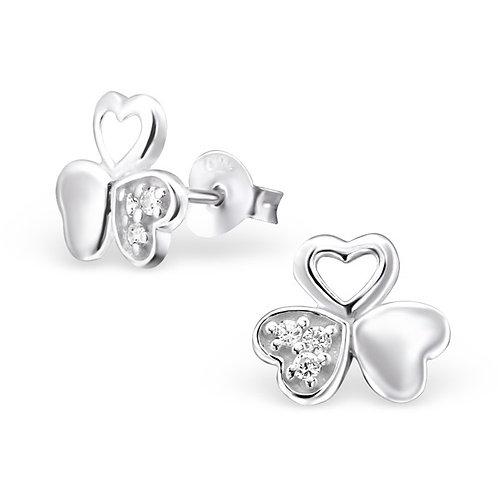 Clou d oreille triple coeur avec zircon