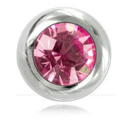 Boules acier avec strass rose