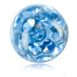 Boules multi strass cristal 1.2 x 3.5 mm bleu