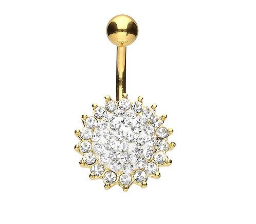 Piercing nombril luxe soleil diamant