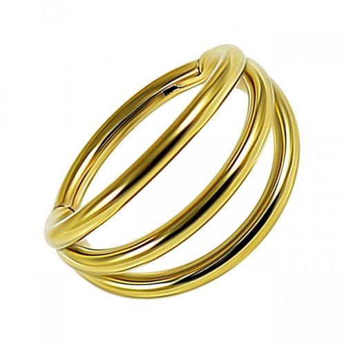 Clicker triple anneau acier doré or jaune