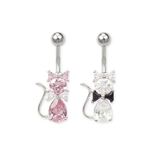 Piercing nombril chat en cristal rose