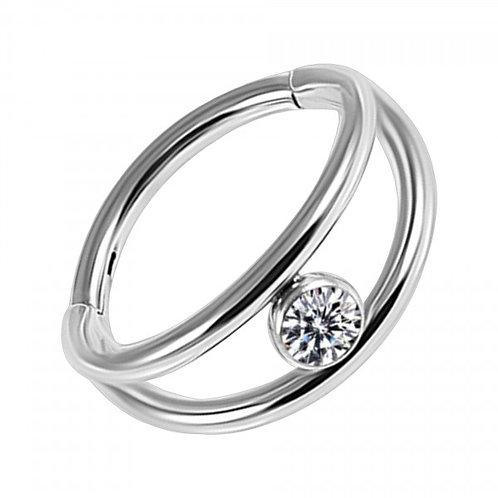 Clicker double anneau acier avec strass