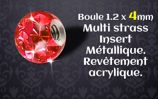 Boule multi strass rouge