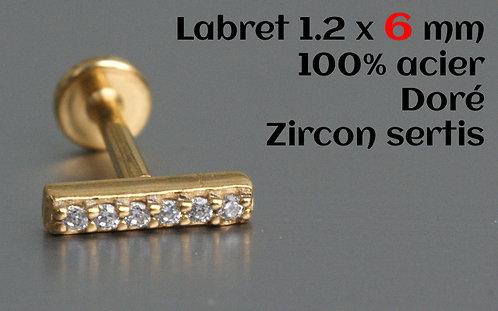 Labret zircons cristal sertis or
