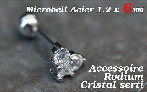 Piercing cartilage 3 cristaux argent