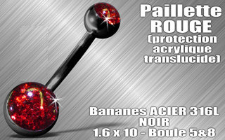 Nombril paillette rouge