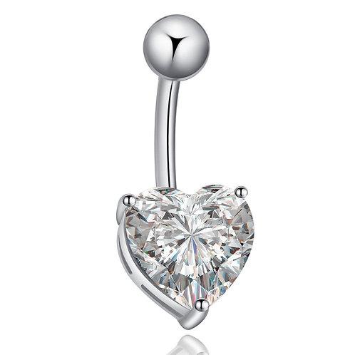 Piercing nombril cœur en argent 925