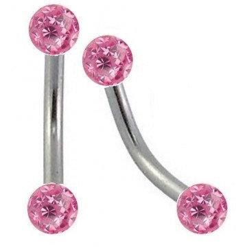 Piercing arcade boules cristal rose